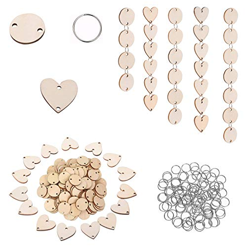 250 Pieces in Total, Wooden Circles Wooden Heart Tags with Holes and 12 mm Rings for Birthday Boards, Valentine, Chore Boards, Arts and Crafts
