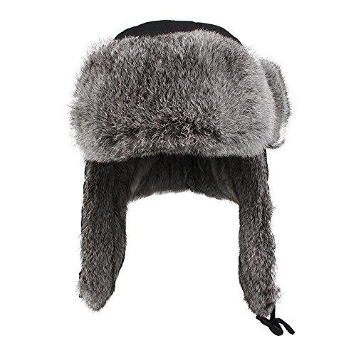 f7216c053d6 Amazon.com  Kenmont Men s 100% Rabbit Hair Trapper Cap Warm Waterproof  Winter Earflap Hat  Clothing