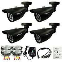 iSmart 4-pack 700TVL Color IR Cut Surveillance CCTV Camera Security System Kit, Weatherproof Outdoor Indoor Use, 3.6mm Wide Range Lens, with 24 IR Leds, C1010DP74