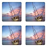 Nautical Coaster Set of Four by Lunarable, Sailboat Bends Down to Sea at Dreamy Paradise Hazard Vivid Illuminated Sky Scenery, Square Hardboard Gloss Coasters for Drinks, Blue Pink