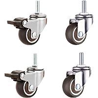 Tonxu Set met 2 zwenkwielen M8 met remmen en 2 zwenkwielen M8 zonder remmen, draaibare rubberen schacht voor meubels…