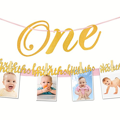 IHopes+ 1st Birthday Glitter Decorations - Monthly Milestone Photo Banner for Newborn to 12 Months. Great for 1 Year Old Celebration, 1-12 Month Star Numbering Photography Garland