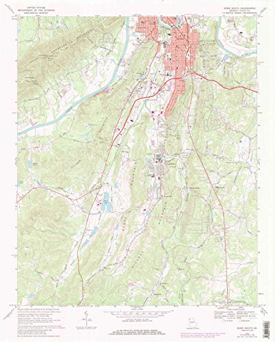 YellowMaps Rome South GA topo map, 1:24000 Scale, 7.5 X 7.5 Minute, Historical, 1968, Updated 1986, 26.9 x 21.7 in - ()
