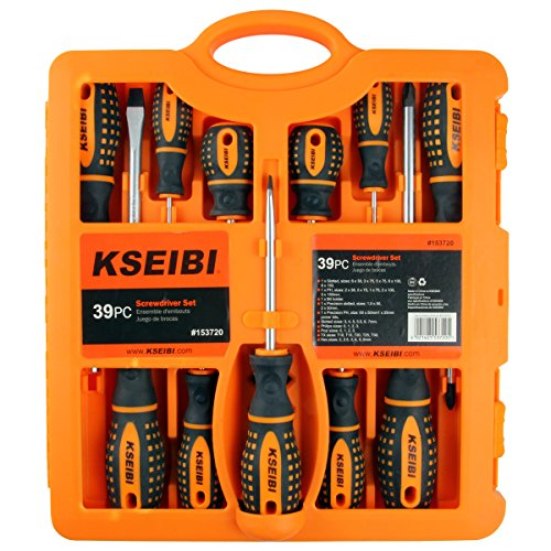 KSEIBI 153720 Soft Grip Handel 39 Pices Screwdriver Set Included Philips Flat Stubby Precision Ratchet Screwdrivers and Power Bits (Soft Grip Screwdriver Set)