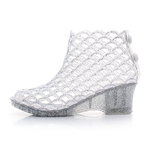 Omgard Womens Summer Wedge Glitter Heeled Sandals Jelly Shoes Peep-Toe Platform Color White Size ()