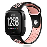 Hagibis Fitbit Versa Bands Sport Silicone Replacement Breathable Strap Bands for New Fitbit Versa Smart Fitness Watch (Black&Pink)