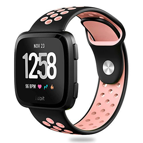 Hagibis Compatible Fitbit Versa Bands Sport Silicone Replacement Breathable Strap Bands New Fitbit Versa Smart Fitness Watch (1.Black#Pink)