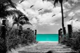 Paradise Walk - Aqua with Sepia or Gray Background, 20x30 Canvas Stretched around a wooden Frame Seascape Ocean Pictures on Canvas. Wall art for Living Room Bedroom Beach (20x30, Gray Background)
