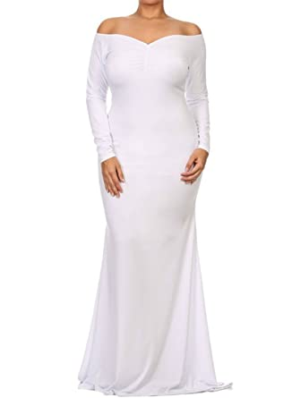 SunShine Plus Size Dress White Off-shoulder V Neck Long Sleeve Plus Long  Dress at Amazon Women s Clothing store  d136e006f327