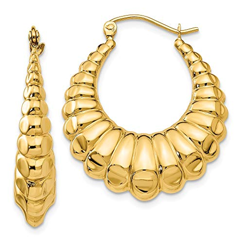 6mm x 29mm Polished 14k Yellow Gold Scalloped Hollow Hoop Earrings ()