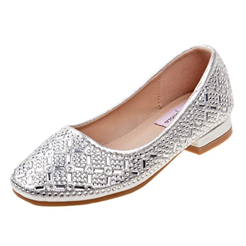 Nanette Lepore Girls Low Heel Rhinestone Dress Shoes, Silver, 13 M US Little - Fancy Jewel