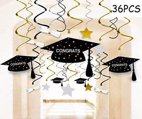 Graduation Party Supplies 2019 Decorations Hanging Swirl- Grad Star/Mortarboards/Diplomas Ceiling Foil Ornaments (36 PCS) -