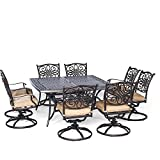 """Hanover Traditions 9 Piece Square Dining Set with Swivel Dining Chairs and a Large Dining Table, 60 x 60"""""""