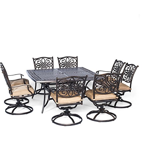 Aluminum Patio Lattice (Hanover Traditions 9 Piece Square Dining Set with Swivel Dining Chairs and a Large Dining Table, 60 x)
