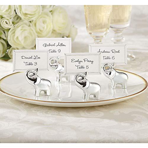 ELEGANI Silver Elephant Place Card Holders Wedding Reception Supplies ()