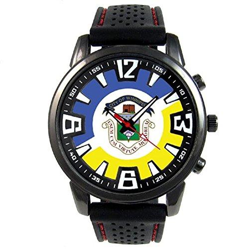 Timest - Canada Winnipeg Flag - Mens Black Jelly Silicone Wrist Watch Round Analog Quartz ()