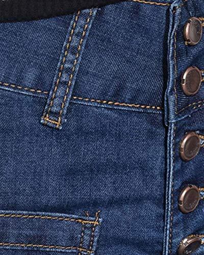 Bolsillos Pantalones Jeans Adelina Dunkelblau Anchos De Con Botones Delanteros Acampanados Mujer Pierna Cómodos Casuales Ropa Y 7wfdwBxPq