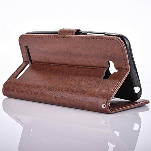 Ecoway Para Alcatel One Touch Pop C7 Funda, (Oro Pálido ) Gofrado Cuero de la PU Leather Cubierta ,Función de Soporte Billetera con Tapa para Tarjetas Soporte para Teléfono marrón