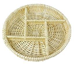 Round Natural Willow Snack Basket Tray Organizer - 12\