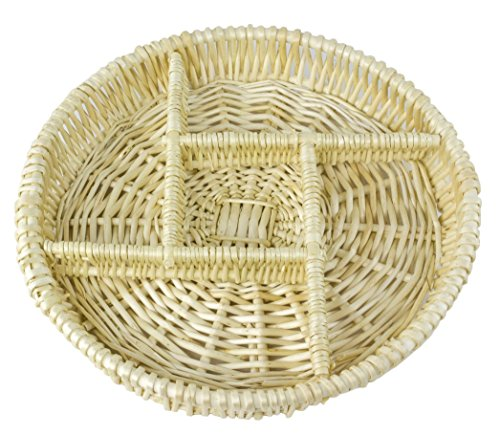 Round Natural Willow Snack Basket Tray Organizer - 12 Inches