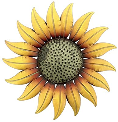 """Collectible Badges Metal Decorative 14"""" Sunflower Wall Plaque"""