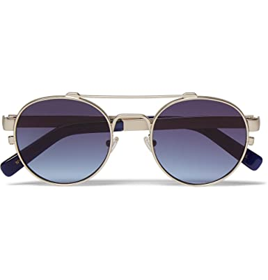 09c9a0db7a8 MOSCOT Leather-Trimmed Round-Frame Metal Sunglasses: Amazon.co.uk: Clothing