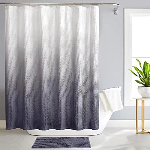 REEPLE Ombre Textured Shower Curtain Set with Bath Mat for Bathroom 72 x 72 Inch Waterproof Fabric Shower Curtain with 12 Hooks,Grey Gradient