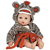 "Adora BathTime Sock Monkey 13"" Girl Washable Play Doll with Open/Close Eyes for Children 1+ Soft Cuddly Huggable QuickDri Body for Water Fun Toy"