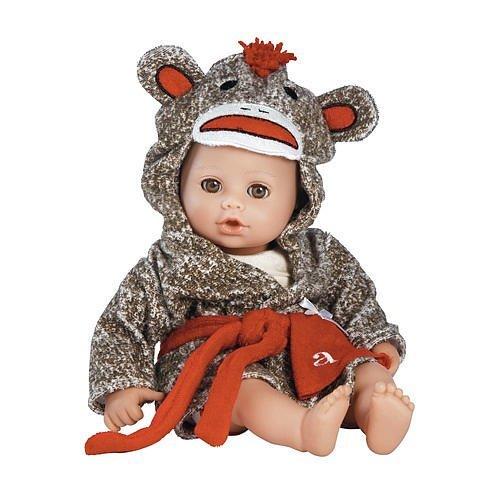 "Adora BathTime Sock Monkey 13"" Girl Washable Play Doll with"
