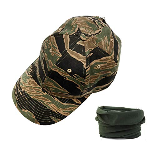 RAINBOW FINCH Military Camo Cap Tiger Stripe Camouflage Tactical Cap Trucker Hat for Hunting Fishing Camping Outdoor -