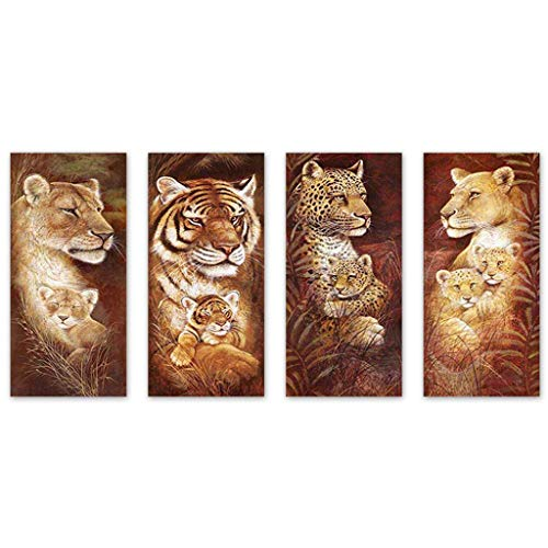(Mikilon DIY 5D Diamond Painting by Number Kits, Pack of 4 Full Drill Crystal Rhinestone Embroidery Pictures Arts Craft for Home Wall Decor Gift, Lion Tiger Leopard Mom and Baby )