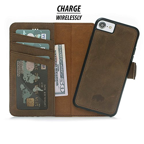 Burkley Detachable Leather Wallet Case for Apple iPhone 8/7 with Magnetic Closure and Premium Snap-on | Book Style Cover with Card Holders and Kickstand in a Gift Box (Antique Coffee)