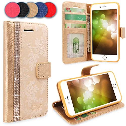 Price comparison product image iPhone 7 Plus Case, Cellularvilla [Diamond] Embossed Flower Design Premium PU Leather Wallet Case [Card Slot] [Stand Feature] Protective Folio Flip Cover For Apple iPhone 7 Plus (Golden Bling)