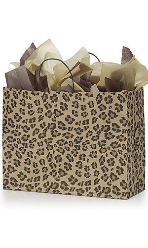 100 Large Leopard Brown Print Paper Shopping Bags gift bag wrap wrapping paper 16'' X 6'' X 12'' by STORE001