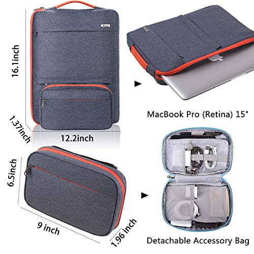 Voova 14-15.6 Inch Laptop Sleeve Bag Cover Special Design Waterproof Computer Protective Carry Case with Detachable Accessory Pocket Compatible MacBook Pro Retina 15'', Dell/Lenovo/Asus, Dark Gray by  Voova (Image #1)