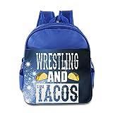 DiadsJun Wrestling And Tacos Boys Girls High-Grade School Backpacks RoyalBlue