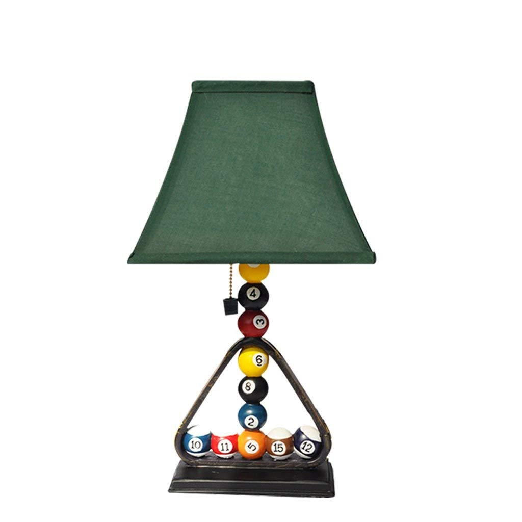 BeiMi Table Lamp, Creative Personality Resin Billiard Table Lamp, LED Energy Saving, European Bedroom Bedside Living Room Billiard Decoration Lamp, 45 25cm