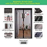 Magnetic Screen Door Full Frame Velcro, Heavy Duty Mesh, 26 Auto-Snap Magnets for Secure Seal, Pet and Kid Friendly, Keeps Bugs and Mosquitoes Out, Lets Fresh Air In. For doors 82''L X 34''W