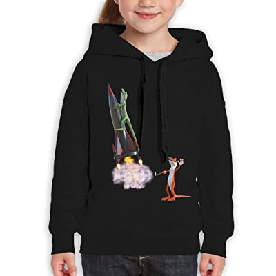 GLSEY Two Lizards Orange and Green Youth Soft Casual Long-Sleeved Hoodies Sweatshirts