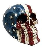 Atlantic Collectibles Patriotic US American Flag Star Spangled Banner Skull Decorative Figurine