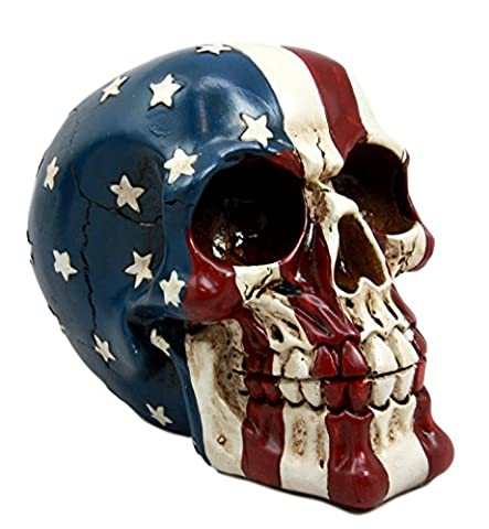 Atlantic Collectibles Patriotic US American Flag Star Spangled Banner Skull Decorative Figurine - Skull Head Figurine