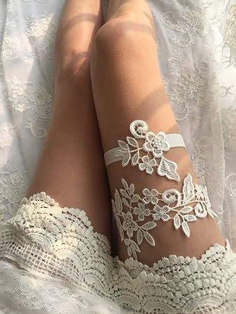 Lemandy giarrettiera da sposa fatta a mano in pizzo TD031 rosa