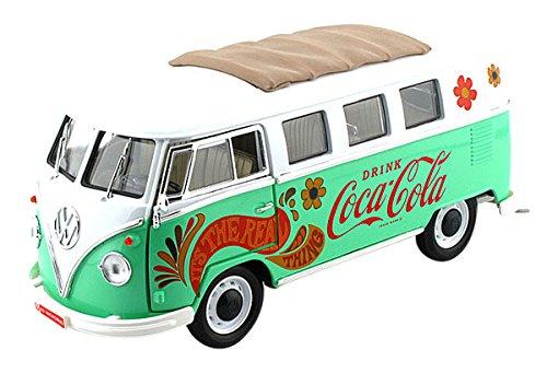 1/18 1962 VW サンバ ミニバス グリーン フラワー(グリーン×ホワイト) 「Coca-Cola Collectibles」 434478