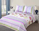 Golden Linens Full Size (1 Quilt, 2 Shams) Light Purple Pink Stripe Floral Kids Teens/Girls Quilt Bedspread 07-16 Girls