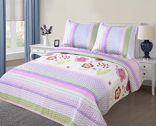 Golden Linens Full Size (1 Quilt, 2 Shams) Light Purple Pink Stripe Floral Kids Teens/Girls Quilt Bedspread 07-16 Girls by Goldenlinens