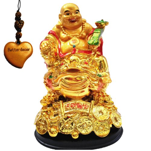 Golden Statue - Betterdecor Feng Shui Golden Lauging (Happy) Buddha on Money Frog (Money Toad) Statue Figurine for Wealth Luck
