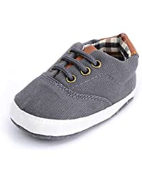 Baby Boys Girls Canvas Toddler Sneaker Anti-Slip First Walkers Candy Shoes 0-24 Months 12 Colors (12cm(6-12months), B-Dark Grey)