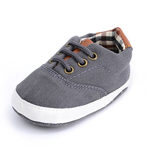 (BENHERO Baby Boys Girls Canvas Toddler Sneaker Anti-Slip First Walkers Candy Shoes 0-24 Months 12 Colors (12cm(6-12months), B-Dark Grey))
