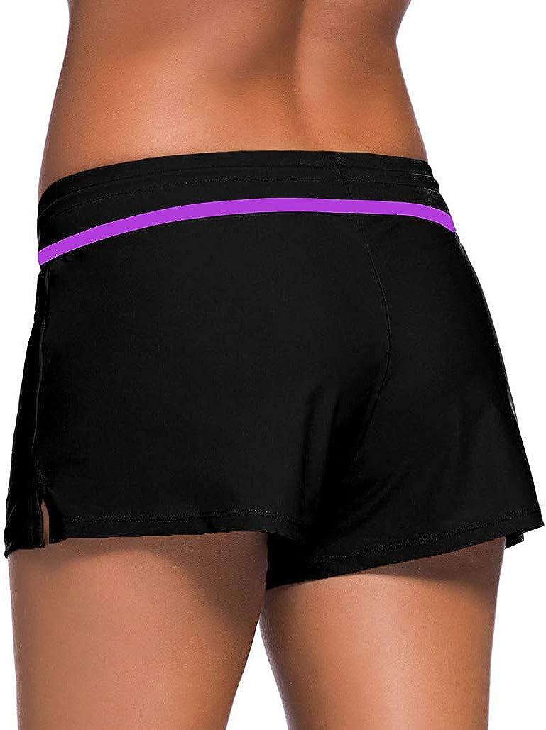 Obosoyo Womens Wide Waistband Boardshorts Swimsuit Bottom Shorts Swimming Panty