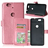 """Huawei Nexus 6P Case, Luxury 3 Credit Card Slots Flip PU Leather Case [Wallet Case] Magnetic Closure With Stand Shell Folio Protection Perfect Fit Cover For Google Huawei Nexus 6P 5.7"""" Pink"""